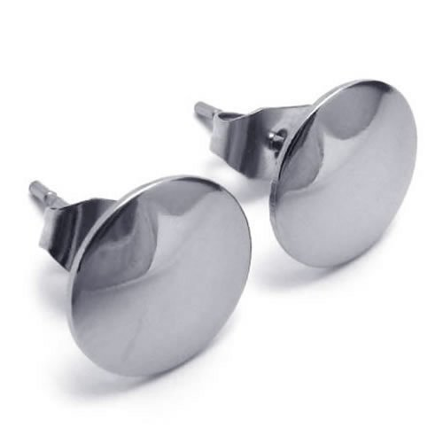 KONOV Bijoux Boucles d'oreilles Homme - Clous d'oreille - Mixte - Acier Inoxydable - pour Homme et Femme - Couleur Argent - Avec Sac Cadeau - F18568