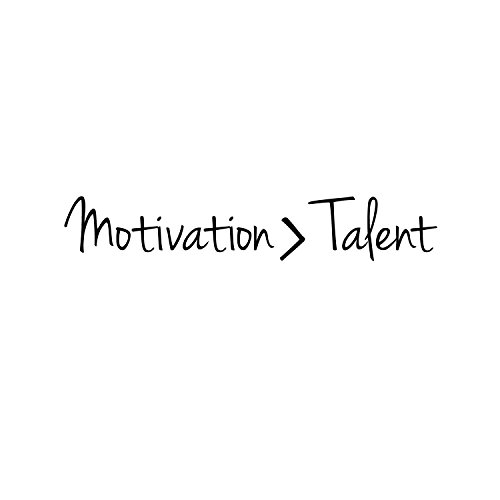 Inspirational Quotes Wall Art Decal - Motivation Is Greater Than Talent - 6'' x 40'' Work Office Wall Decals - Gym Fitness Wall Decal Stickers - Home Decor Sayings Wall Art Removable Lettering Decals by Pulse Vinyl (Image #3)