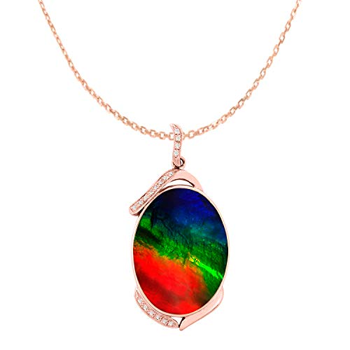 - Designed by Ellen Natural AAA Ammolite Diamond Pendant Necklace in 14K Rose Gold
