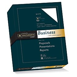 20 Lb Bond Paper - Southworth Fine Business Paper, 20.05 Cotton, 20 lb , White,500 Sheets (403C)