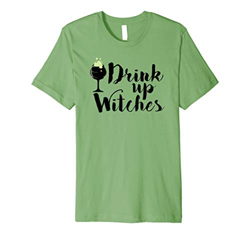 Drink Up Witches Halloween T Shirt Women Drinking Wine Gift ()