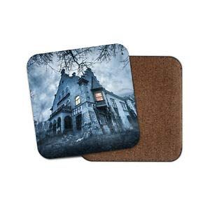 JIANCAICHEN Haunted Hill House Coaster - Halloween Scary Mansion Spooky Castle Gift]()