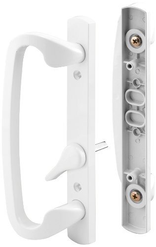 Prime-Line C 1280 Mortise-Style Sliding Door Handle Set - Replace Old or Damaged Door Handles Quickly and Easily -For Right- or Left-Handed Doors - White Diecast, 3-15/16