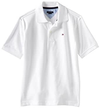 Tommy Hilfiger Big Boys' Short Sleeve Ivy Polo Shirt,Classic White,Small(8/10)