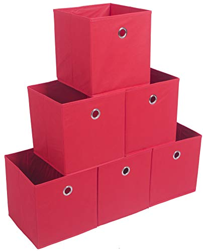 Amborido Storage Cubes Foldable Drawers Office Toys Room Organizer Cubby Clothes Fabric Kids Bins 6 Pack (Red)