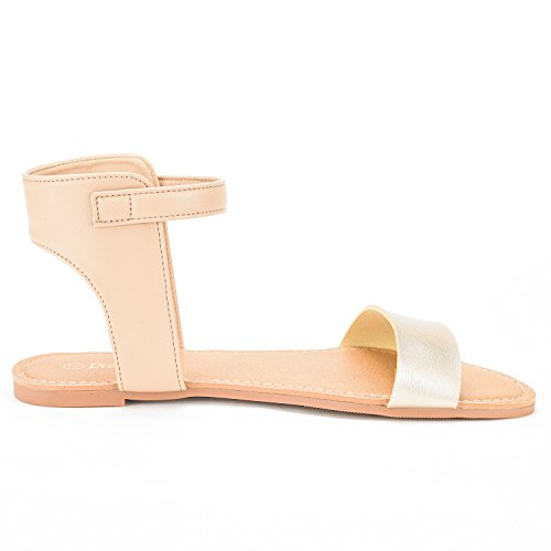 Band Sandals Alexa One Strap Open DREAM Summer Toes PAIRS Women's New Flexible gold Flat Hoboo Nude Ankle Cute x0fOw