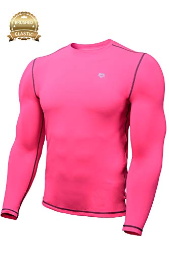 Mens Base Layer Tech Long Sleeve Undershirt for Men (S, Bright Pink) - Layer Tech Compression Shirt