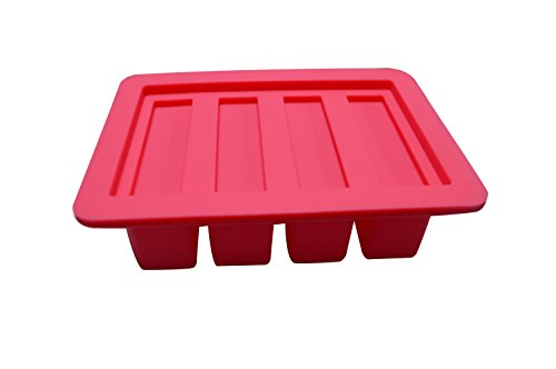 Silicone Butter Mold Tray with Lid for Butter Pudding Soap Chocolate Ice Cube, 4 Cavity, Hot Pink, by CSPRING