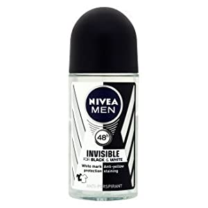 Nivea for Men Deodorant Roll On 1.69 oz (Invisible B&W Power) Pack of 3
