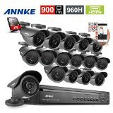 Annke 24CH H.264 Real-Time DVR w/ 2TB Hard Drive + 16 Indoor/Outdoor 800TVL High Resolution CCTV Camera System, IP66 Weatherproof,QR Code Scan Easy Remote Access Setup with P2P Function