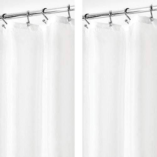 mDesign - 2 Pack - STALL Sized Water Repellent, Mildew Resistant, Heavy Duty Flat Weave Fabric Shower Curtain, Liner - Weighted Bottom Hem - for Shower and Bathtub - 54