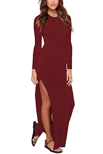 Meenew Womens Long Sleeve Party Evening Bodycon High Slit Long Maxi Dress Ruby L