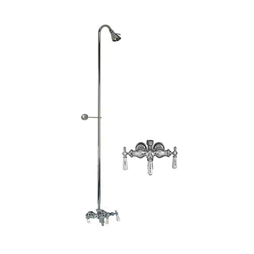 (Barclay Leg Tub Diverter Faucet for Cast Iron Tub with Old Style Spigot, Riser and Adjustable Shower Head)