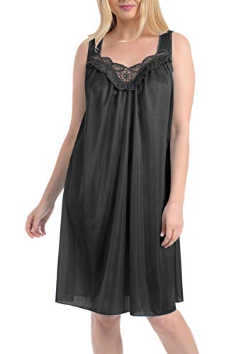 (Ezi Women's Faux Silk and Lace Sleeveless Nightgown,Medium,Black)
