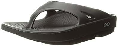 OOFOS Unisex Original Thong flip flop , Black, 5 B(M) US Women / 3 D(M) US Men
