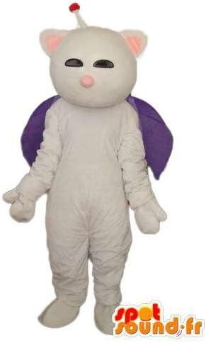 白猫の衣装アンテナと紫のマント