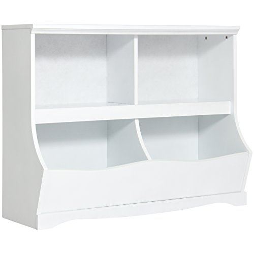 Best Choice Products Kids Bookcase Footboard Toy Storage- White by Best Choice Products