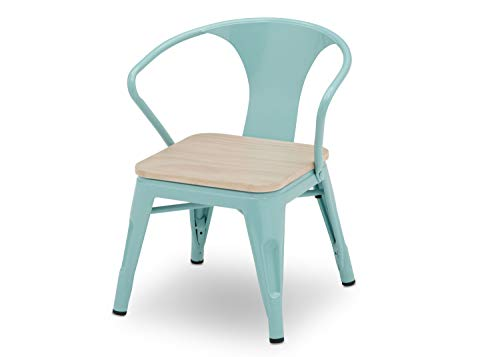 Delta Children Bistro Kids Play Table with 2-Piece Chair Set | Eggshell Aqua with Driftwood | Ideal for Arts & Crafts, Snack Time, Homeschooling, Homework & More