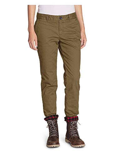 Eddie Bauer Women's Stretch Legend Wash Flannel-Lined Pants - Boyfriend, Aged Br ()
