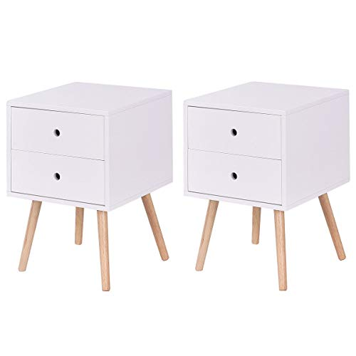 Giantex Side End Table W 2 Drawers Mid-Century Accent for Bedroom Living Storage Home Furniture Nightstand 2