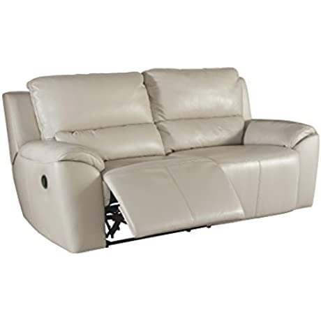 Ashley Furniture Signature Design Valeton Reclining Sofa Sleek Contemporary Recliner Cream
