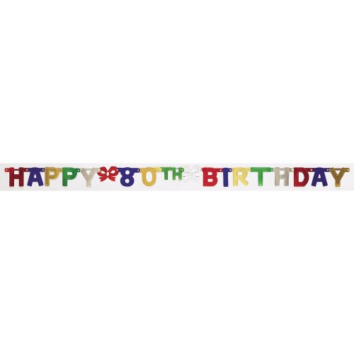 Creative Converting Party Decoration Jointed Banner, Happy 80th Birthday, 6-Feet ()