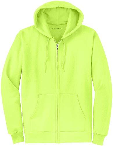 (Joe's USA Full Zipper Hoodies - Hooded Sweatshirts Size XL, Neon Yellow)