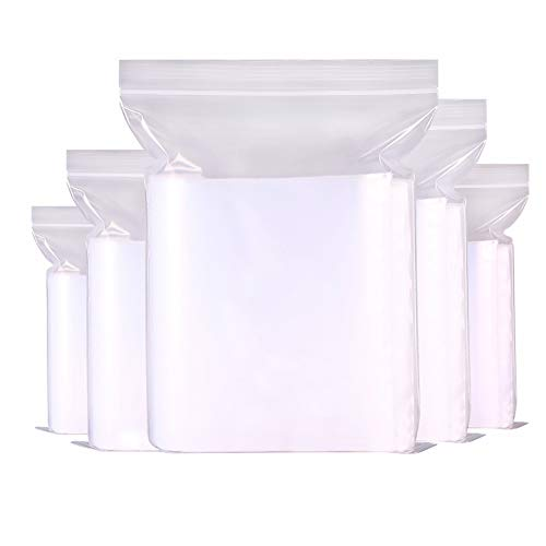 Reusable Plastic Seal Bags, 500pcs Ziplock Bags 5 Assorted Sizes 4 Mil Clear Reclosable Zipper Poly Packaging Baggies for Daily Jewelry (Clear)