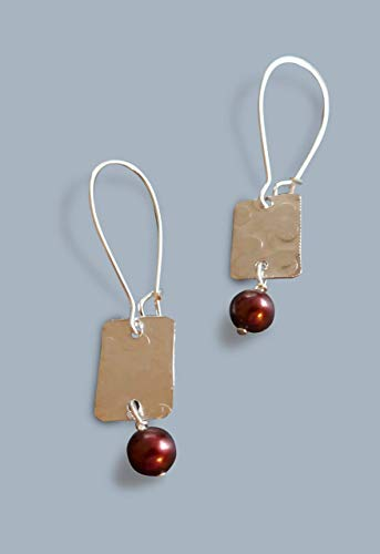 - handmade lightweight womens rectangle drop earrings with cranberry pearls