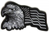 PATCH,TOPPA RICAMATA TERMOADESIVA ,,Eagle With Waving Flag Black Silver Patch - 4x2.5 inch,, Tankpad