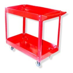 Red Service Cart Shop Tool Cart Steel Frame Utility Cart