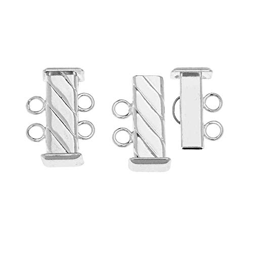 (BeadSmith, 2-Strand Rectangle Fluted Slide Tube Clasp 16.5mm x 5.2mm, 3 Sets, Silver Plated)