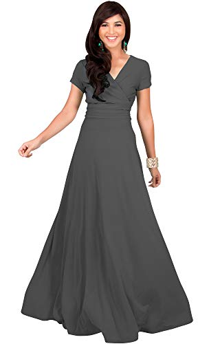 Gray Cocktail (KOH KOH Petite Womens Long Cap Short Sleeve V-Neck Flowy Cocktail Slimming Summer Sexy Casual Formal Sun Sundress Work Cute Gown Gowns Maxi Dress Dresses, Pewter Gray Grey XS 2-4)
