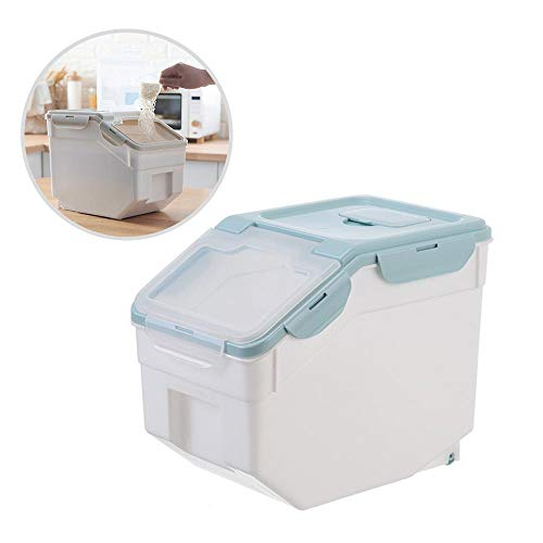 OOOUSE Rice Container Storage, 10 KG/22 lbs, Double Seal Cereal Containers Storage with Measuring Cup, Moisture Proof Rice Bucket for Storing Rice, Flour, Dry Food, Pet Food and More