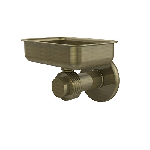 Allied Brass 932G-ABR Mercury Collection Wall Mounted Soap Dish with Groovy Accents Antique Brass