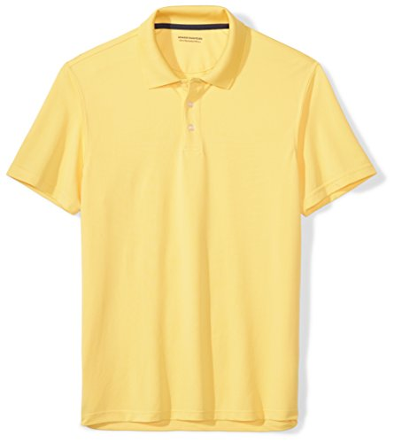 Amazon Essentials Men's Slim-Fit Quick-Dry Golf Polo Shirt, Yellow, Large