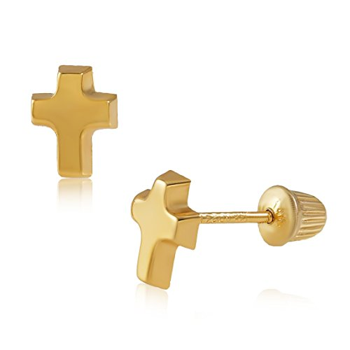 Balluccitoosi 14k Gold Tiny High Polished Cross Stud Earrings for Women & Girls - Real Hypoallergenic for Sensitive Ears, Small & - Ring Earring Fashion