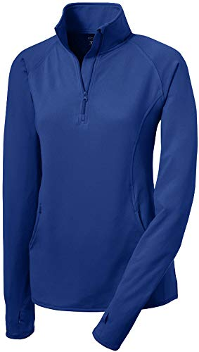 Joe's USA Ladies Moisture Wicking Stretch 1/2-Zip Pullover Sweatshirt- M True Royal