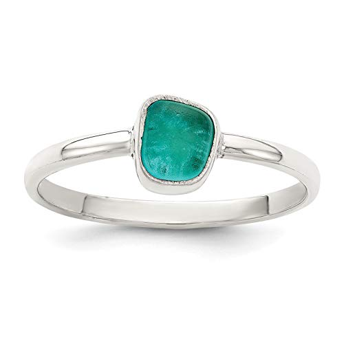 Sea Glass Bezel - 925 Sterling Silver Polished Teal Sea Glass Ring Size 6