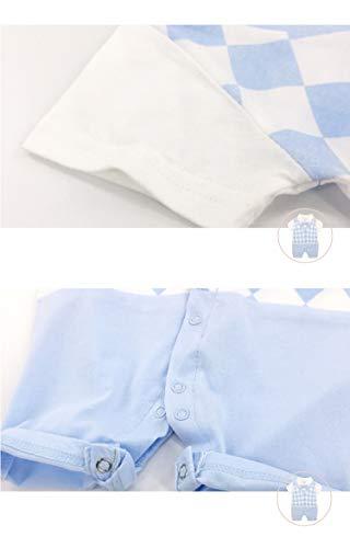 22f62c8624d34 Mum nny ベビーフォーマル半袖 ひし柄 夏用ロンパース 結婚式服 男の子 66cm ブルー