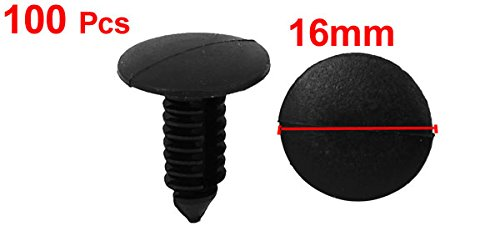 uxcell Plastic Rivets Push in Type Fastener Clips 8mmx6mm 100pcs Black