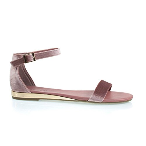 Flat Sandal w Slightly Elevated Mirror Metallic Wedge Mauve eWX6BbPAe