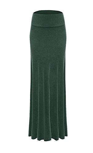 Stripe Skirt Silk (Sportoli Women Maxi Skirt Solid Long Flare Rayon Spandex Fold Over - Made in USA - Dark Green (Size S))