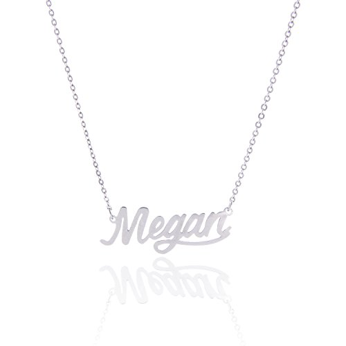 AOLO Stainless Steel Birthday Nameplate Necklace Gift, Megan from AOLO
