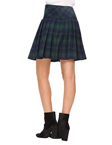35c5a0c43 Beluring Womens Plaid Skater Skirt Short Skirt for Women Green Small ...
