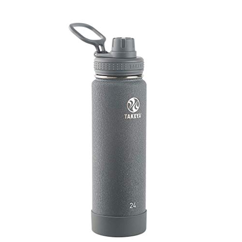 Takeya 51164 Actives Insulated Stainless Steel Water Bottle with Spout Lid, 24 oz, Stone