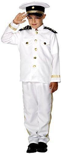 Fancy Me Big Boys' Sailor Sea Captain Navy Uniform Costume + Hat 7-9 Years White -