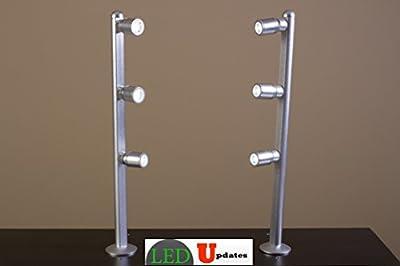 LEDupdates Showcase LED Light pole style spot Light SET of 2 silver FY-53 with UL listed power supply