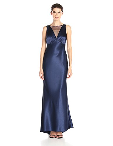 Marina Women's Satin Gown with Illusion Neck and Open Back, Navy, 12