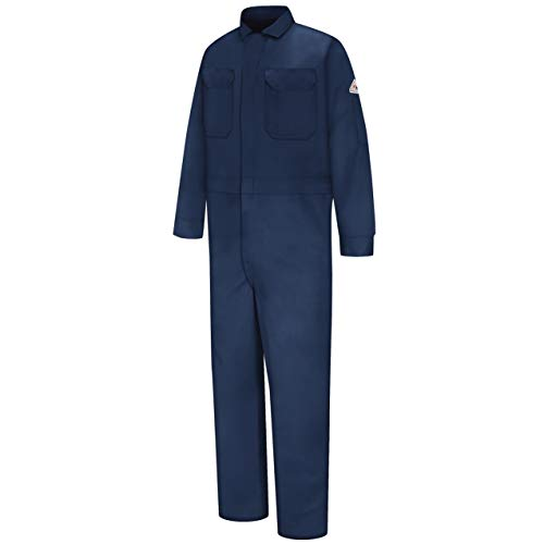 Bulwark Mens Flame Resistant 9 oz Twill Cotton Deluxe Coverall with Concealed Snap Cuff, Navy, 42